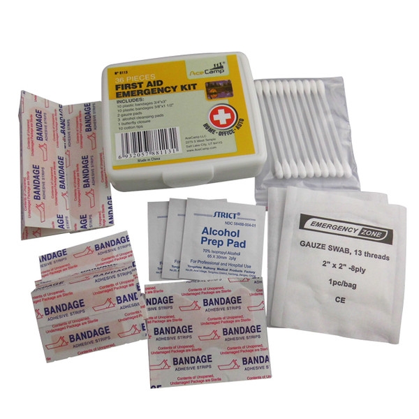 First Aid Kit, Bandages, Gauze, Cotton Swabs, Butterfly Closure, Alcohol Cleaning Pads