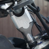 2 inch prototype riser shown - production version will match the color of the stock handlebar clamps.