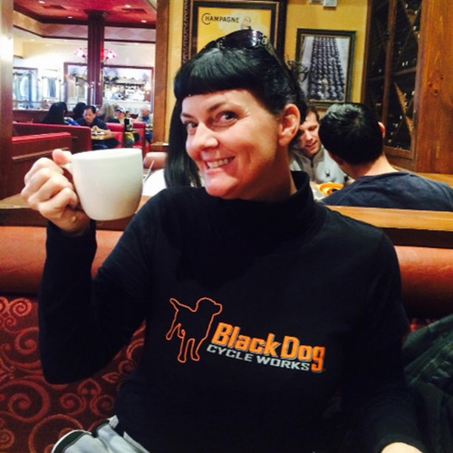 Sharon Faith and her Long-Sleeve Black Synthetic BDCW Tee.
