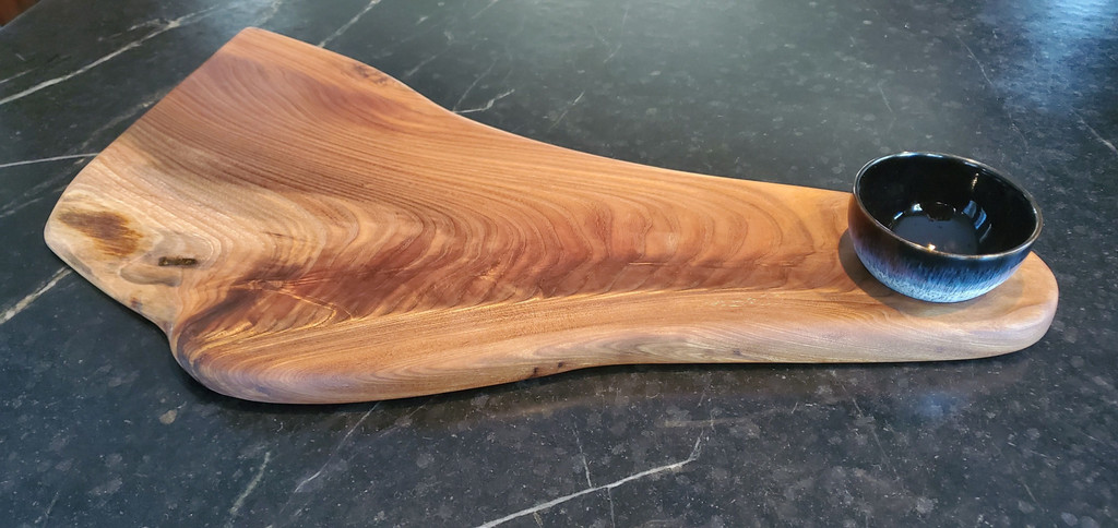 Elm Crotch Cutting and Serving Board with Bowl