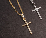 SALE! Free Shipping! Christian Cross Necklace - Crystals or Smooth