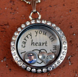 """""""I carry you in my heart"""" Floating Charm Locket with a Photo (Choose your charms) (447)"""