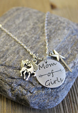Mom of Girls Unicorn & Wand Necklace