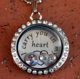 """Create Your Own """"I carry you in my heart"""" Floating Locket"""