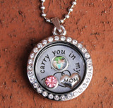 """Mom"" - ""I carry you in my heart"" Floating Charm Locket"