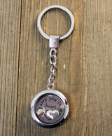 """I carry you in my heart"" Glass Floating Charm Key Chain with Photo Charm"