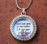 """God has you in his arms I have you in my heart"" Floating Charm Locket"