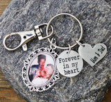 Memorial Photo Key Chain with custom Engraved Heart (996)