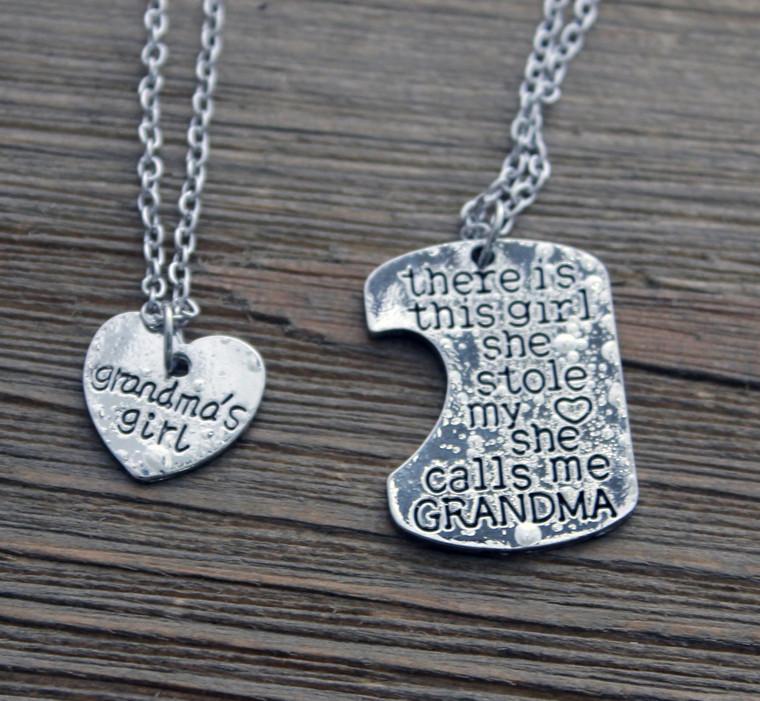 """Grandma's Girl"" Necklace and Grandma Key Chain Set"