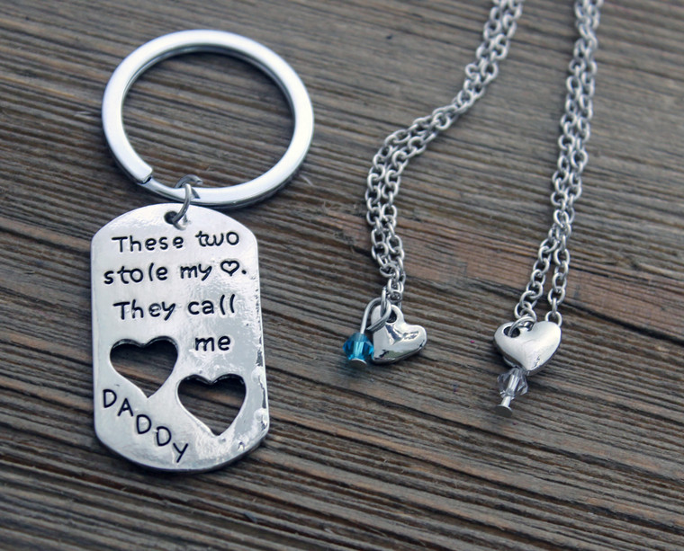 2 heart necklaces and Daddy Key Chain Set (for dads of 2)