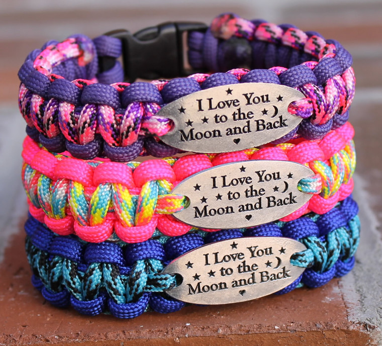 """""""I Love You to the Moon and Back"""" Charm Tag Bracelet, Moon and Back Bracelet"""
