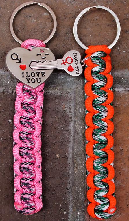 """Heart"" & ""Key"" Key Chain Set (Choose your colors)"