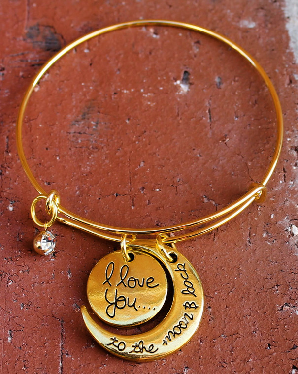 """""""I Love You to the Moon and Back"""" Gold Colored Bangle Bracelet"""