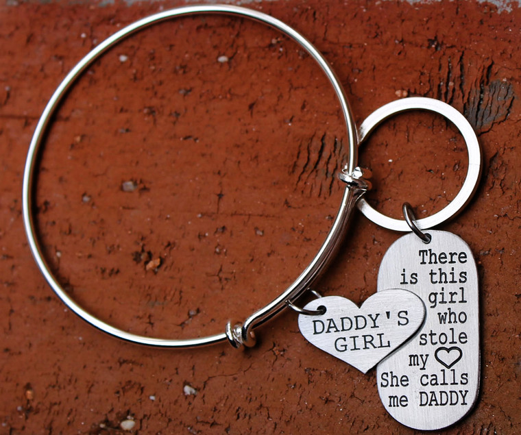 """""""Daddy's Girl"""" Bangle and Daddy Key Chain Set"""