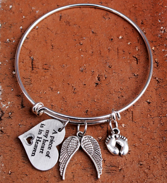 Memorial Bangle Bracelet (Choose Your Charm)