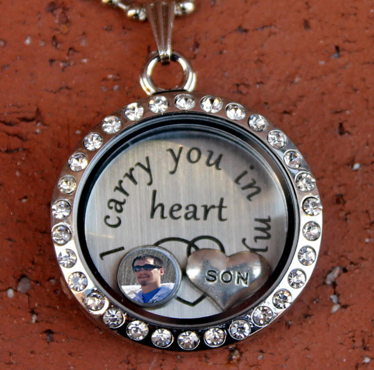 """""""I carry you in my heart"""" Floating Charm Locket with a Photo (Choose your charms)"""