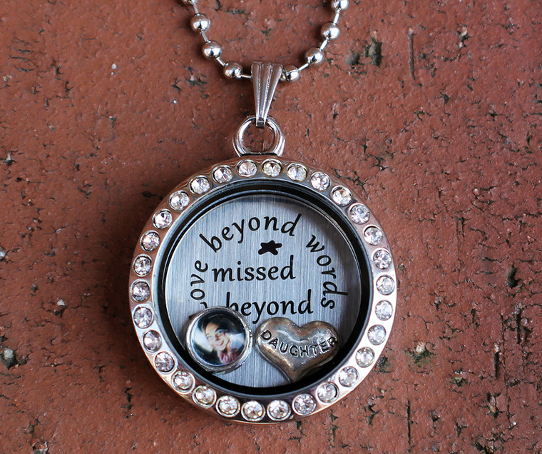 """""""Love beyond words, Missed beyond measure"""" Floating Charm Locket with a Photo (Choose your charms)"""