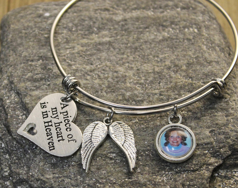 Memorial Bangle Bracelet with a Photo