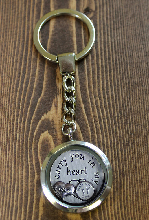 "CYO ""I carry you in my heart"" Glass Floating Charm Key Chain"