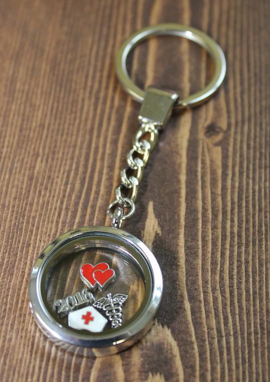 CYO Round Glass Floating Charm Key Chain