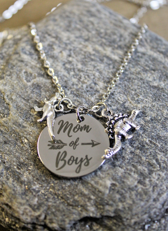 Mom of Boys Dinosaur Necklace
