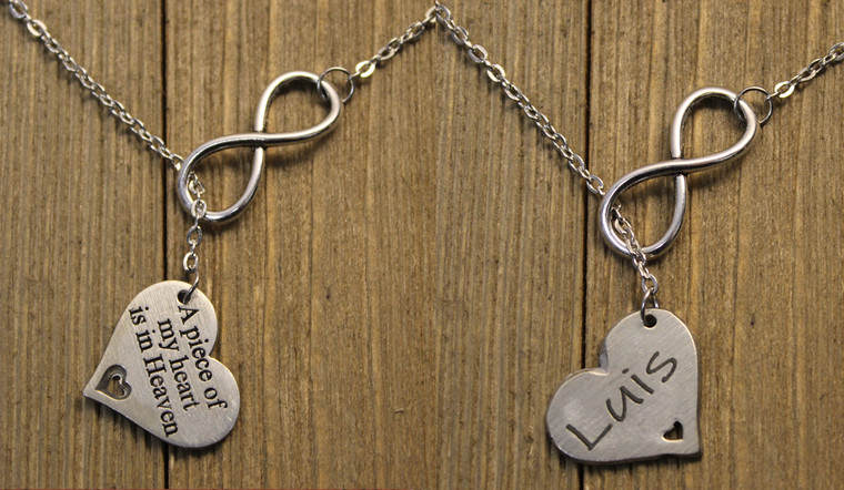Memorial Infinity Necklace with Engraving on the Back