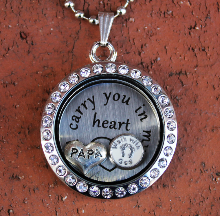 Floating Charm For Glass Memory Lockets Shears and Comb