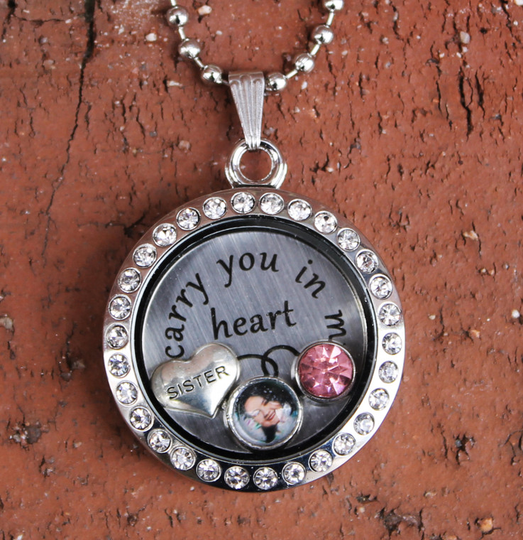 """""""Sister"""" - """"I carry you in my heart"""" Floating Charm Locket"""