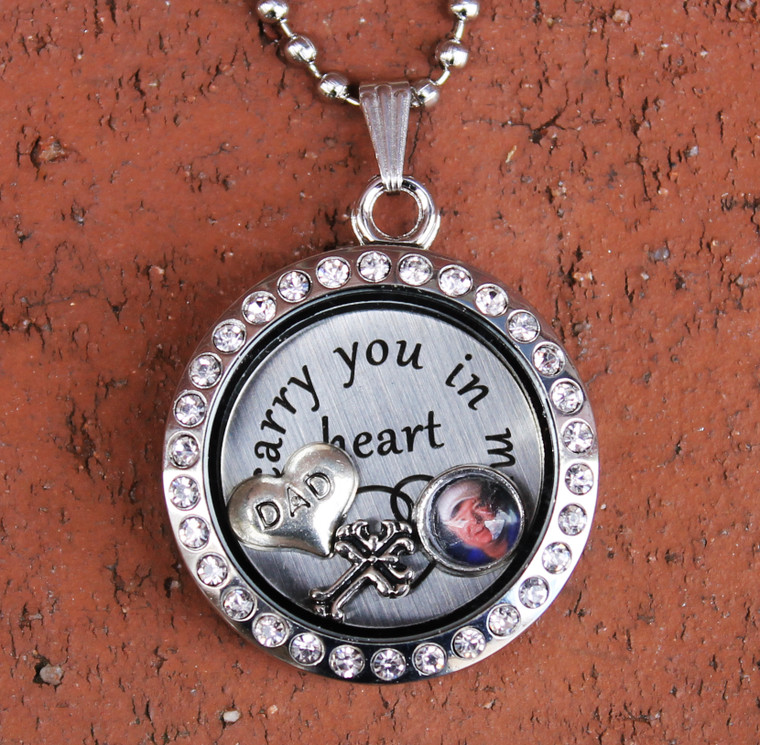 """""""Dad"""" - """"I carry you in my heart"""" Floating Charm Locket"""