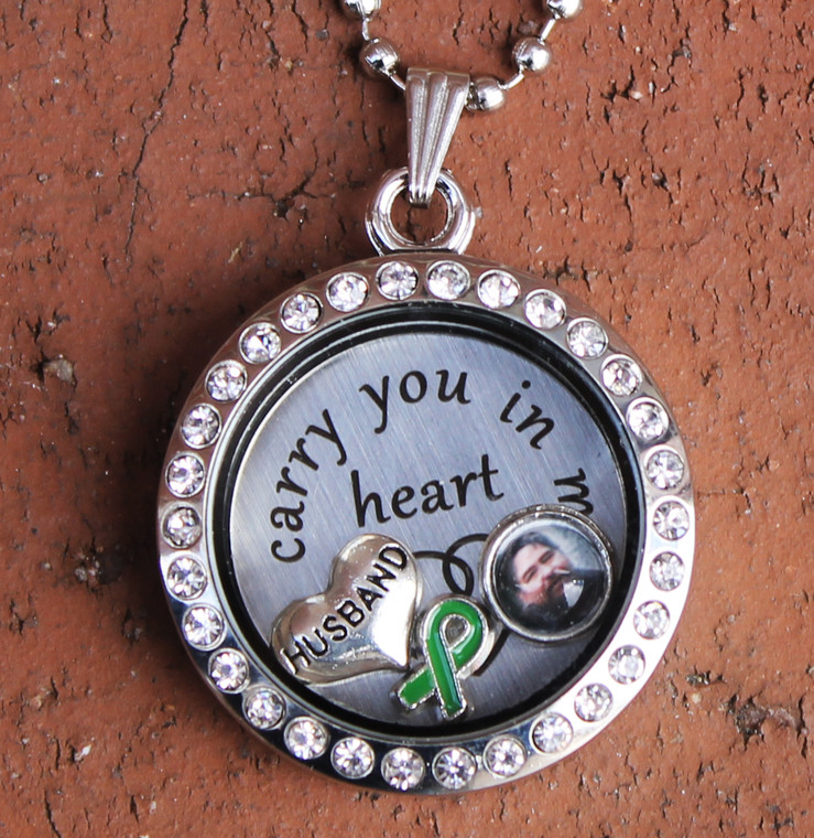 """""""Husband"""" - """"I carry you in my heart"""" Floating Charm Locket"""