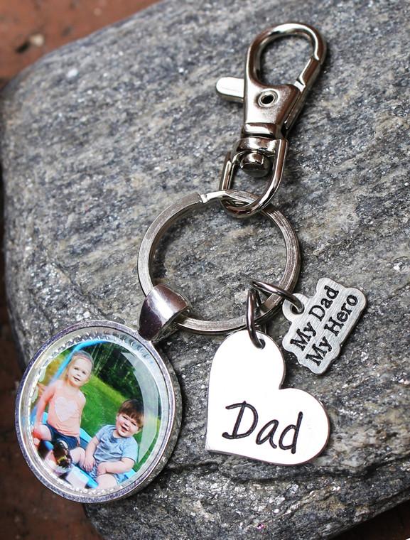 """Dad"" Photo Key Chain (choose your charm)"