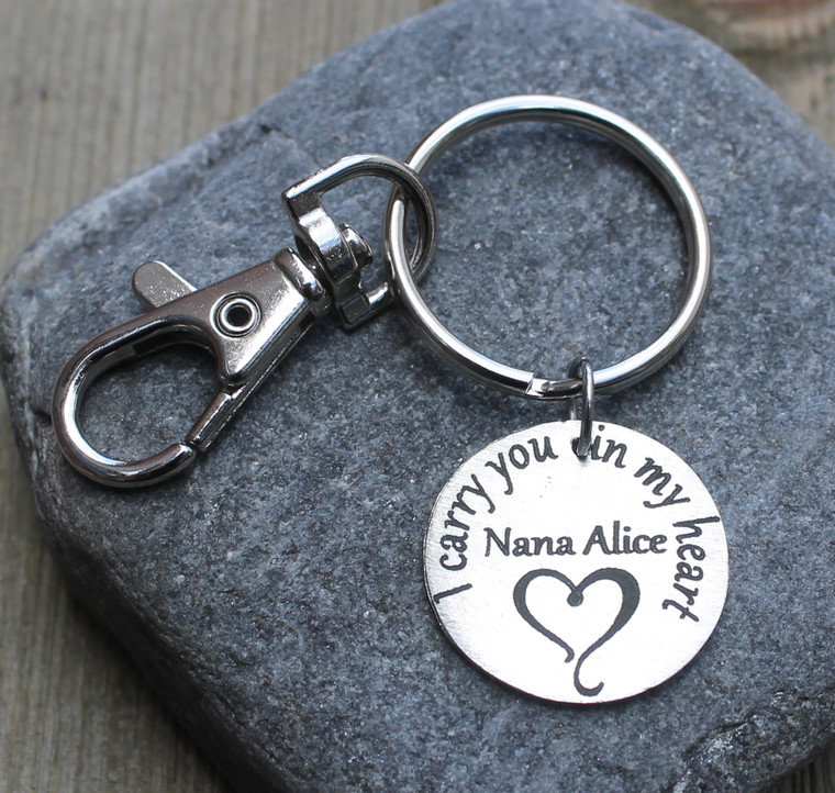 I carry you in my heart - Engraved Key Chain