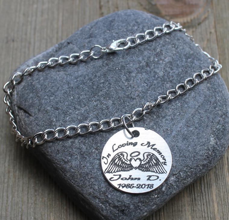 In Loving Memory (Angel Wings) - Engraved Chain Bracelet