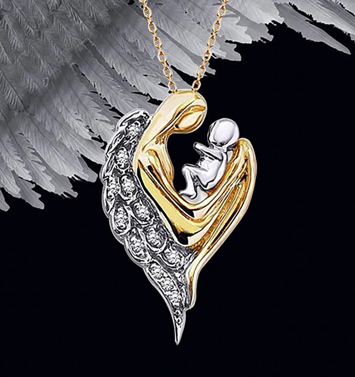 925 Sterling Silver Angel Mother Necklace