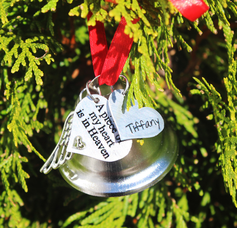 Memorial Engraved Heart Ornament (Choose you Charms) (991)