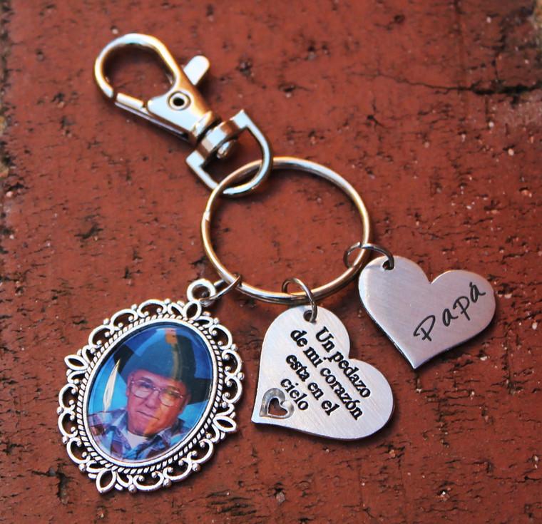 Spanish Memorial Photo Key Chain (Choose you Charms)