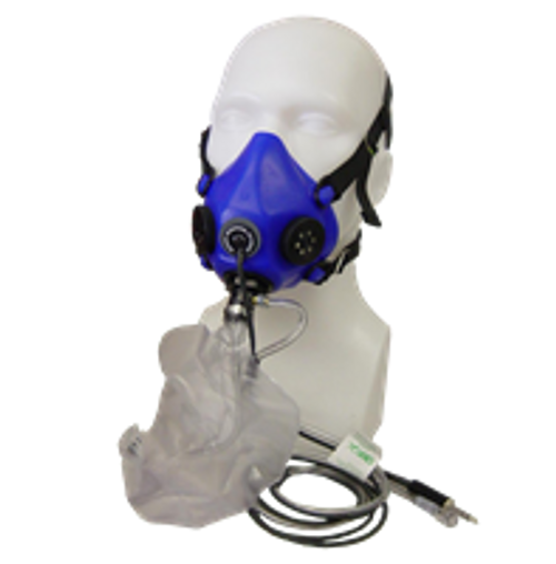 4110-729 Mask Assembly with Microphone, Silicone, Medium, with Fixed Flow fitting.