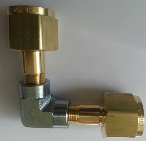 FA540-90, Filling Adaptor, Fill to CGA 540 from CGA 540 - with 90 degree angle