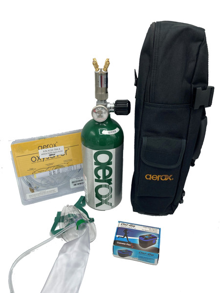 Each portable comes with a bottle, regulator, cannulas, and a mask.  Other items sold separately.