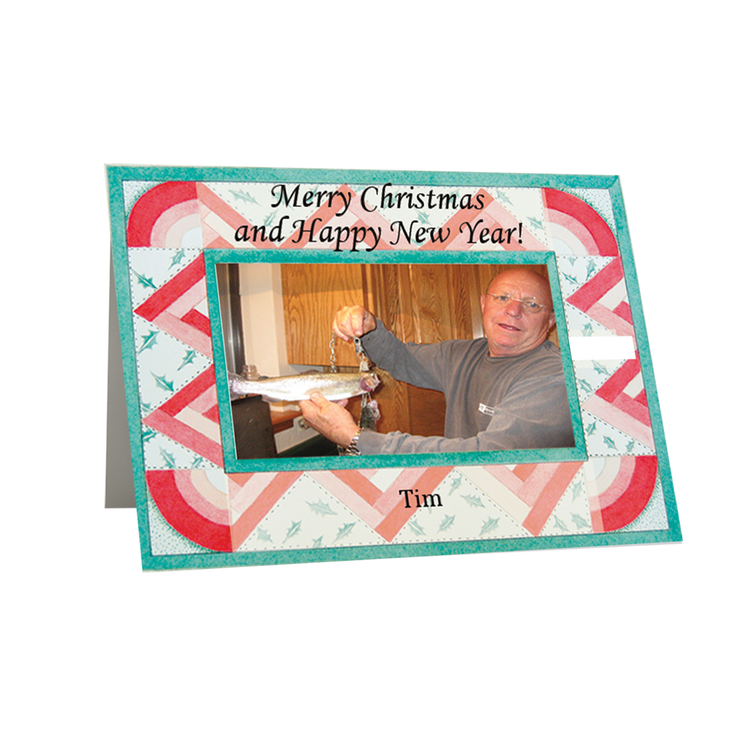 "Artist Signature Holiday  Photo Card ""Christmas Quilt"" in Sets - (Black Font) - Box Mailed"