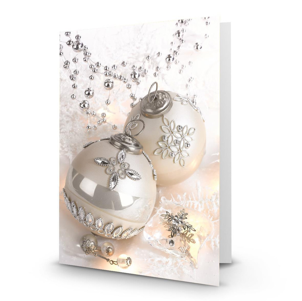"""""""2 Silver Ornaments"""" Artist Premier Holiday Card in Sets - Box Mailed to You (BMTY)"""