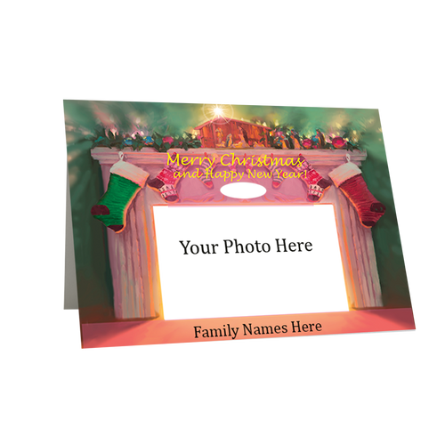 "Artist Signature Holiday Photo Card in  Set - ""Creche and Hearth ""- Box Mailed"