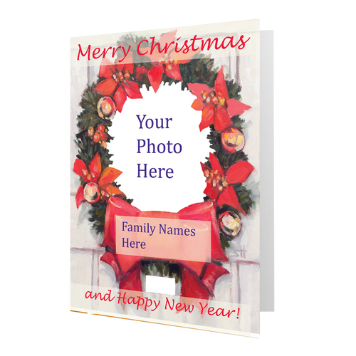 "Artist Signature Holiday Photo Card ""Christmas Wreath"" (Red Font) in Sets-Box Mailed"