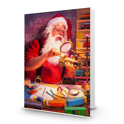 The Train Master - Artist Premier Holiday Card in Sets- Box Mailed to You - BMTY