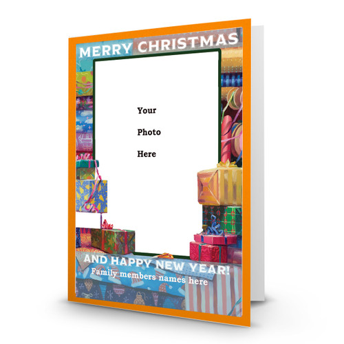 "Artist Signature Holiday Photo Card ""All Wrapped Up"" in Sets (White Font) - Box Mailed"