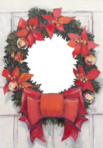 "Artist Signature Holiday Photo Card ""Christmas Wreath Oval"" Singles & Sets- Full Service"