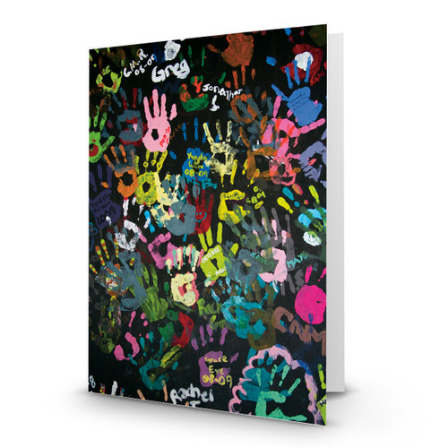 Art Colorful Childrens Handprints on Blackboard - CC100