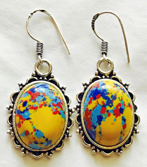 Stunning Pair Of Ladies Mosaic Balloon Earrings 925 Sterling Silver