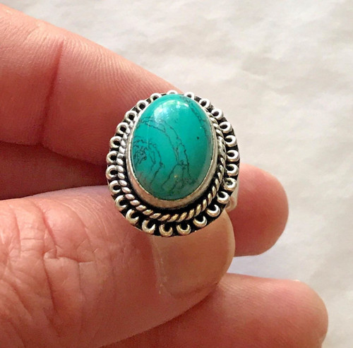 Beautiful Santa Rosa Turquoise And 925 Sterling Silver Ring Size 6 3/4