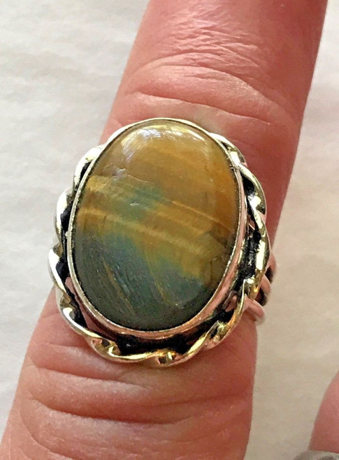 Beautiful Mesmerizing Ladies 925 Sterling Silver Tiger's Eye Gemstone Ring (#12)